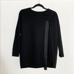 COS 3/4 Sleeve Minimalist Black Ribbon Top